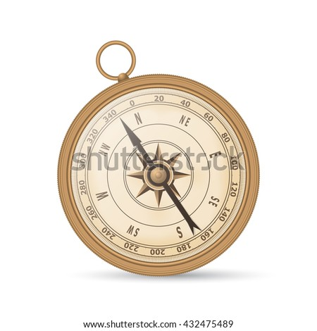 Ancient compass copper color on a white background. Vector