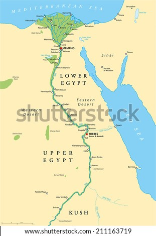 Ancient Egypt Map - Historical map of Ancient Egypt with most important sights, with rivers and lakes. Illustration with English labeling and scaling.
