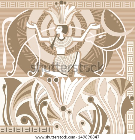 Ancient egypt pharaoh sitting on lotus stock vector 149890847 ancient egypt pharaoh sitting on a lotus flower and the celestial cow mightylinksfo