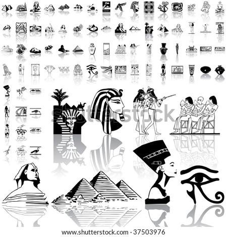 Ancient egypt set of black sketch. Part 1. Isolated groups and layers.