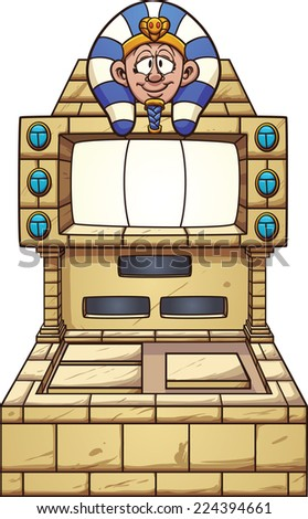 Ancient Egypt themed slot machine. Vector clip art illustration with simple gradients. Pharaoh's head, console and gems on separate layers. - stock vector
