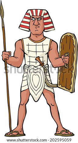 Ancient Egyptian warrior on a white background vector illustration - stock vector
