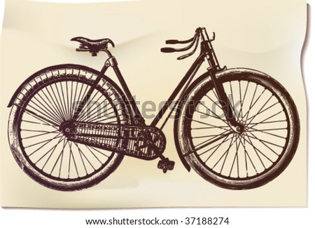 """Ancient """"feminine"""" bicycle in illustration with time-worn effect of old etching - stock vector"""