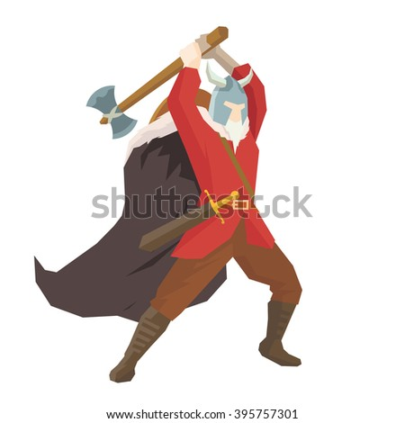 Ancient Fighter Knight Throwing Axes in War Scene - stock vector