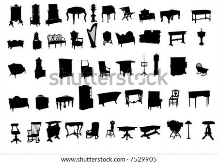 Ancient furniture - stock vector