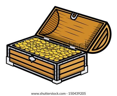 Ancient Gold Coin Filled Box - Cartoon Vector Illustration - stock vector