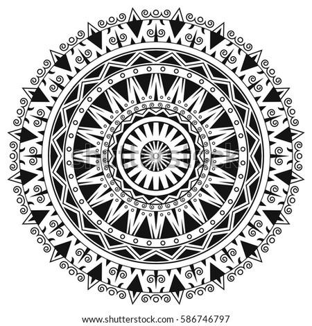 Ancient Gothic Ornament Mandala On White Background