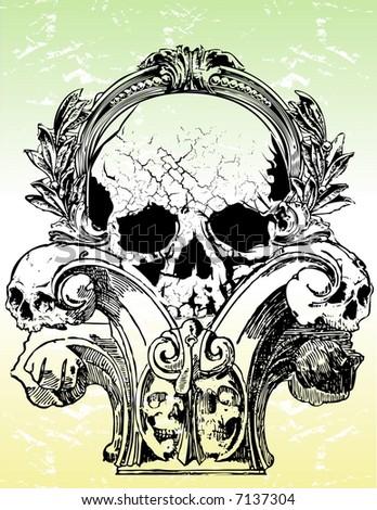 Ancient Gothic Skulls Vector Illustration
