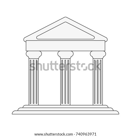 ancient greek building on floating land icon image