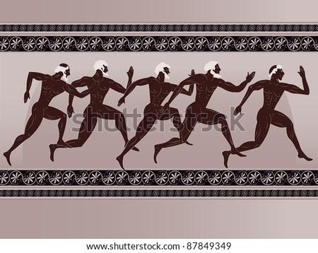 Ancient Greek figure - sportsmen runners in a vector - stock vector