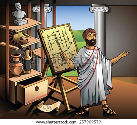 Ancient Greek scientist, represents his invention, vector illustration - stock vector