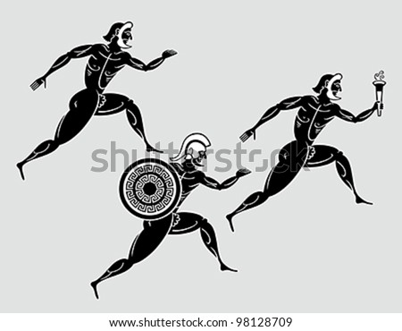 Ancient greek Sparta runners following the flame torch - stock vector