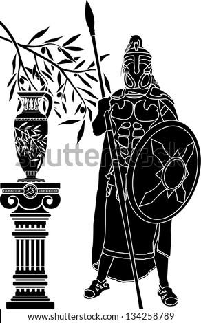 ancient hellenic man. stencil. vector illustration - stock vector