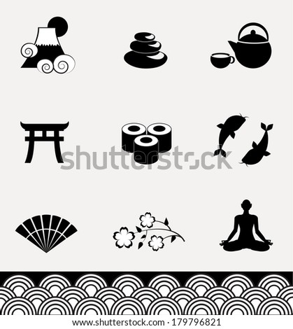 Ancient Japan icon collection. VECTOR illustration. - stock vector