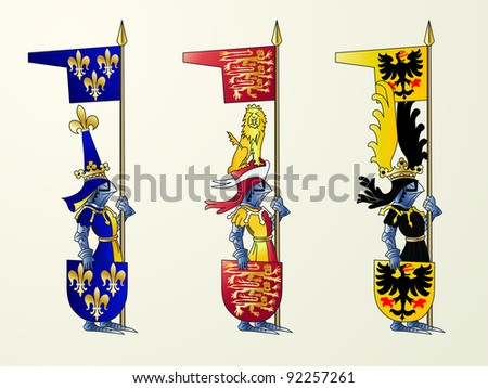 Ancient knights with the shields and flags of national coat of arms - stock vector