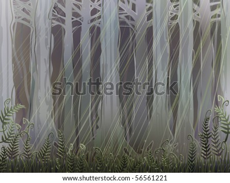 Ancient magical forest understory with a few sunrays piercing through the thick canopy (AI-optimized EPS 8 file, other landscapes are in my gallery)