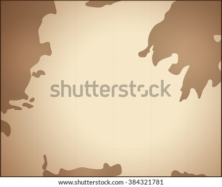 ancient map with gradient brown background and line - stock vector