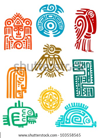 Ancient maya elements and symbols set of religious design. Vector illustration - stock vector