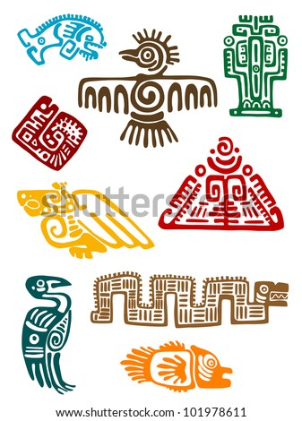 Ancient maya monsters set of religious design. Vector illustation - stock vector