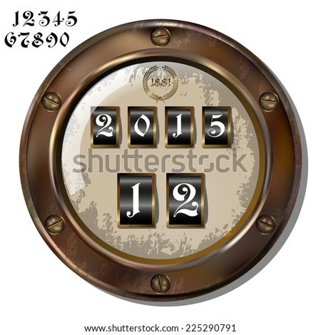 Ancient measuring device in the style of steampunk - stock vector