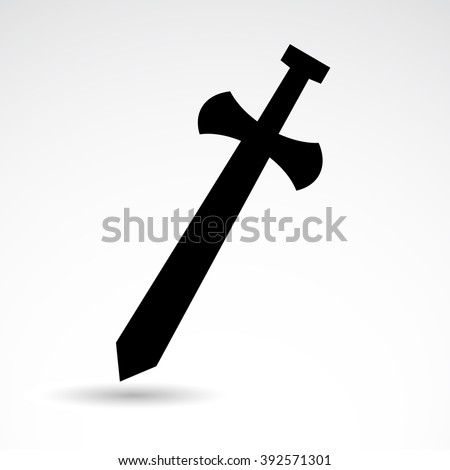 Ancient, medieval, historic weapon. Sword vector icon isolated on white background. - stock vector