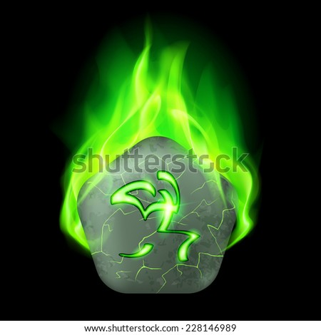 Ancient pentagonal stone with magic rune in green flame