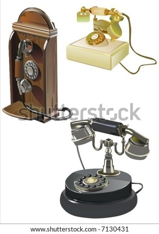 Ancient phones - stock vector