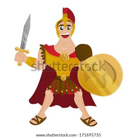 Ancient Roman centurion soldier - stock vector