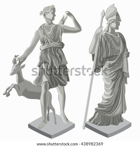 Ancient Roman statue of the goddess huntress Diana and goddess of wisdom Athena isolated on white background. Vector illustration. - stock vector