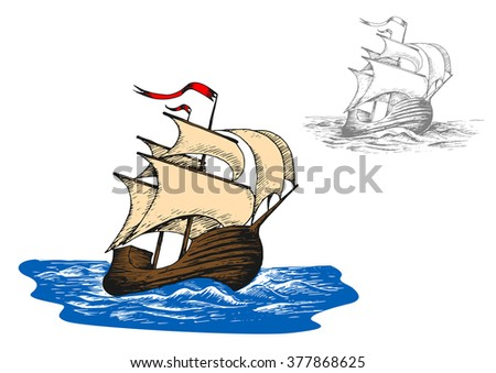 Ancient sail ship in blue ocean waves. Sketch style vector illustration. Discovery and adventure theme - stock vector