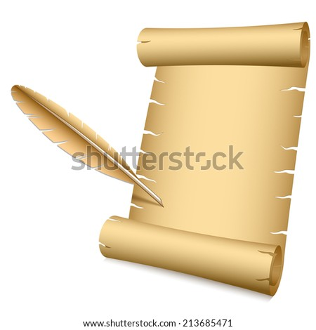 Ancient scroll and writing feather vector illustration with copy space. - stock vector