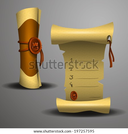 Ancient scroll of yellowed paper. Vector illustration. - stock vector