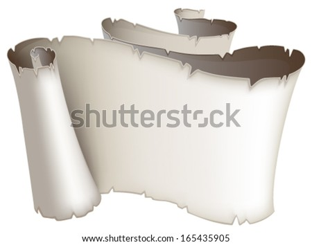 Ancient scroll with torn edges on a white background - stock vector