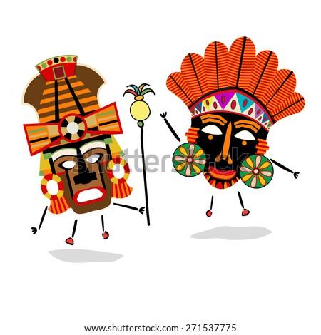 Ancient shaman characters - stock vector