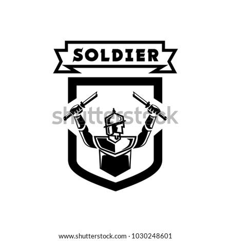 Ancient soldier logo design soldier hand stock vector 1030248601 ancient soldier logo design with soldier hand held double broken swords in shield shape thecheapjerseys Gallery
