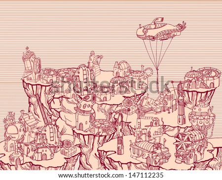 Ancient steampunk city on the hills.  - stock vector