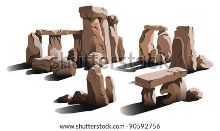Ancient stone circle, a place of magic and worship, vector illustration - stock vector