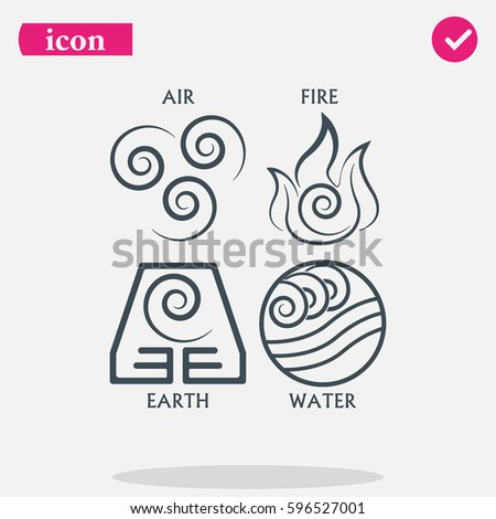 Ancient Symbols Four Elements Subscribe Stock Vector 2018
