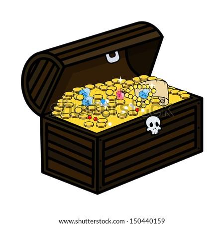 Ancient Treasure Trunk - Cartoon Vector Illustration - stock vector