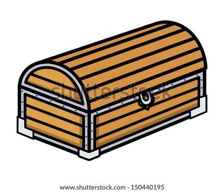 Ancient Treasure Wooden Trunk - Cartoon Vector Illustration - stock vector
