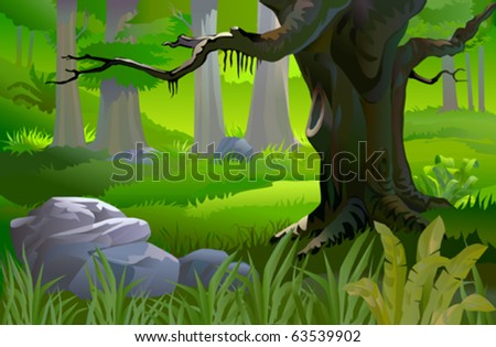 ANCIENT TREE IN A TROPICAL FOREST - stock vector