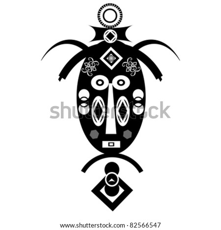 Ancient tribal religious masks on white background - stock vector