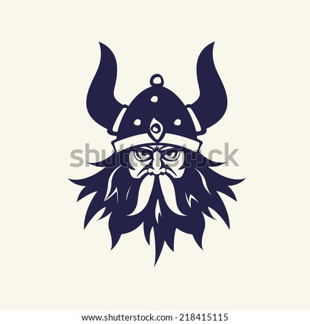 Ancient viking head emblem for mascot design. Vector illustration Medieval weapons. Game icons. Cartoon weapons - stock vector
