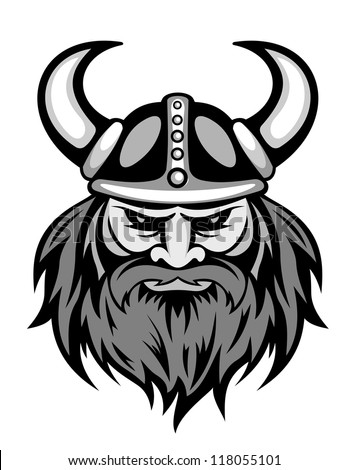 Ancient viking head logo for mascot design. Vector illustration - stock vector