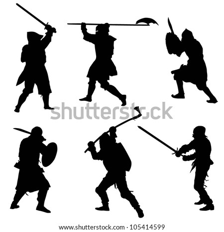 Ancient warriors  detailed silhouettes set. Vector EPS8 - stock vector