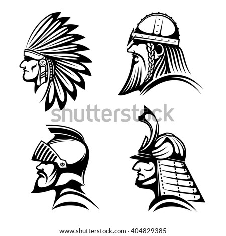 Ancient warriors profiles of medieval knight, bearded viking soldier, japanese samurai and native american indian in feather headdress. May be used as history symbol, war mascot or tattoo design  - stock vector