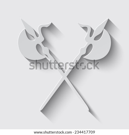 Ancient Weapon Tool Equipment. icon  with shadow on a grey background
