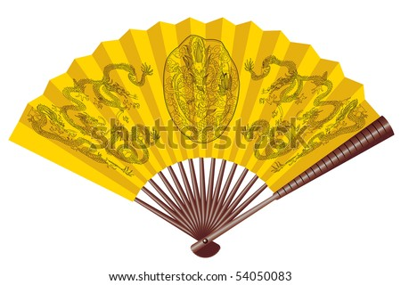Ancient yellow chinese fan with dragons