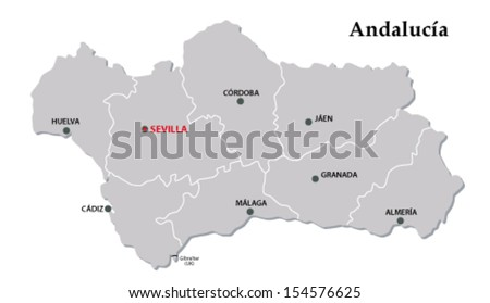 andalusia administrative map - stock vector