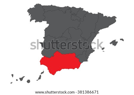 Andalusia red map on gray Spain map vector - stock vector